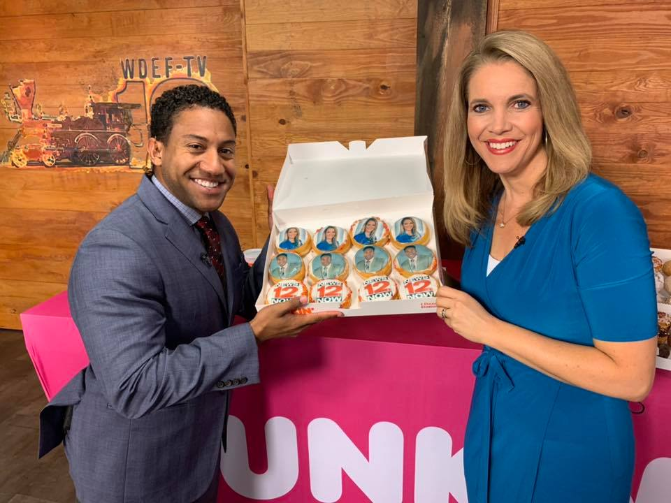 Local Knoxville News cast with custom cast-inspired donuts