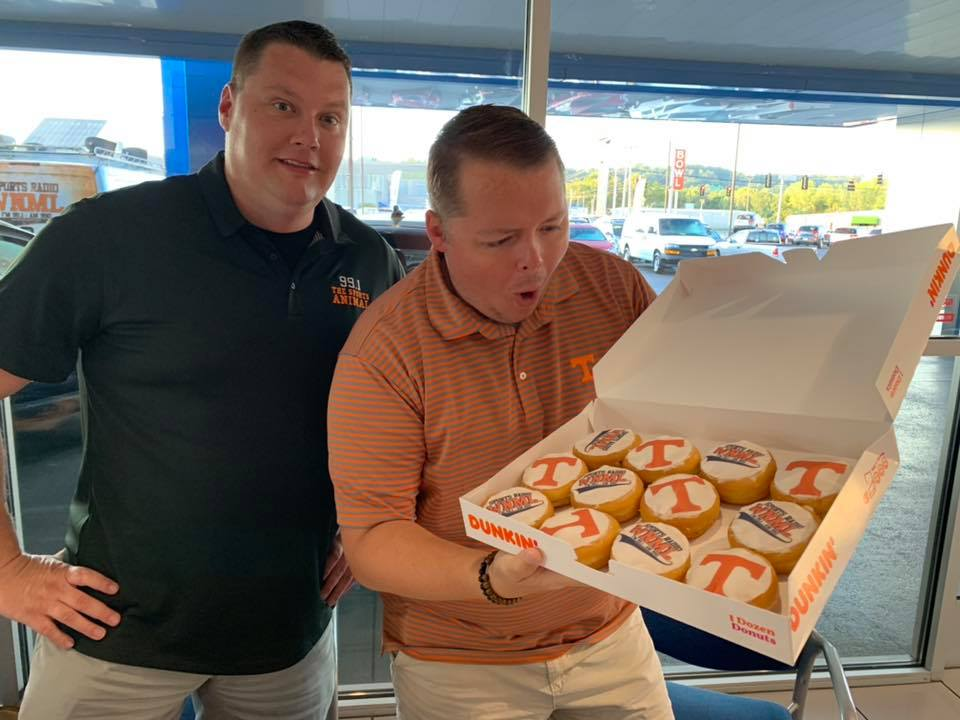 Local Knoxville Radio with custom Tennessee Football donuts