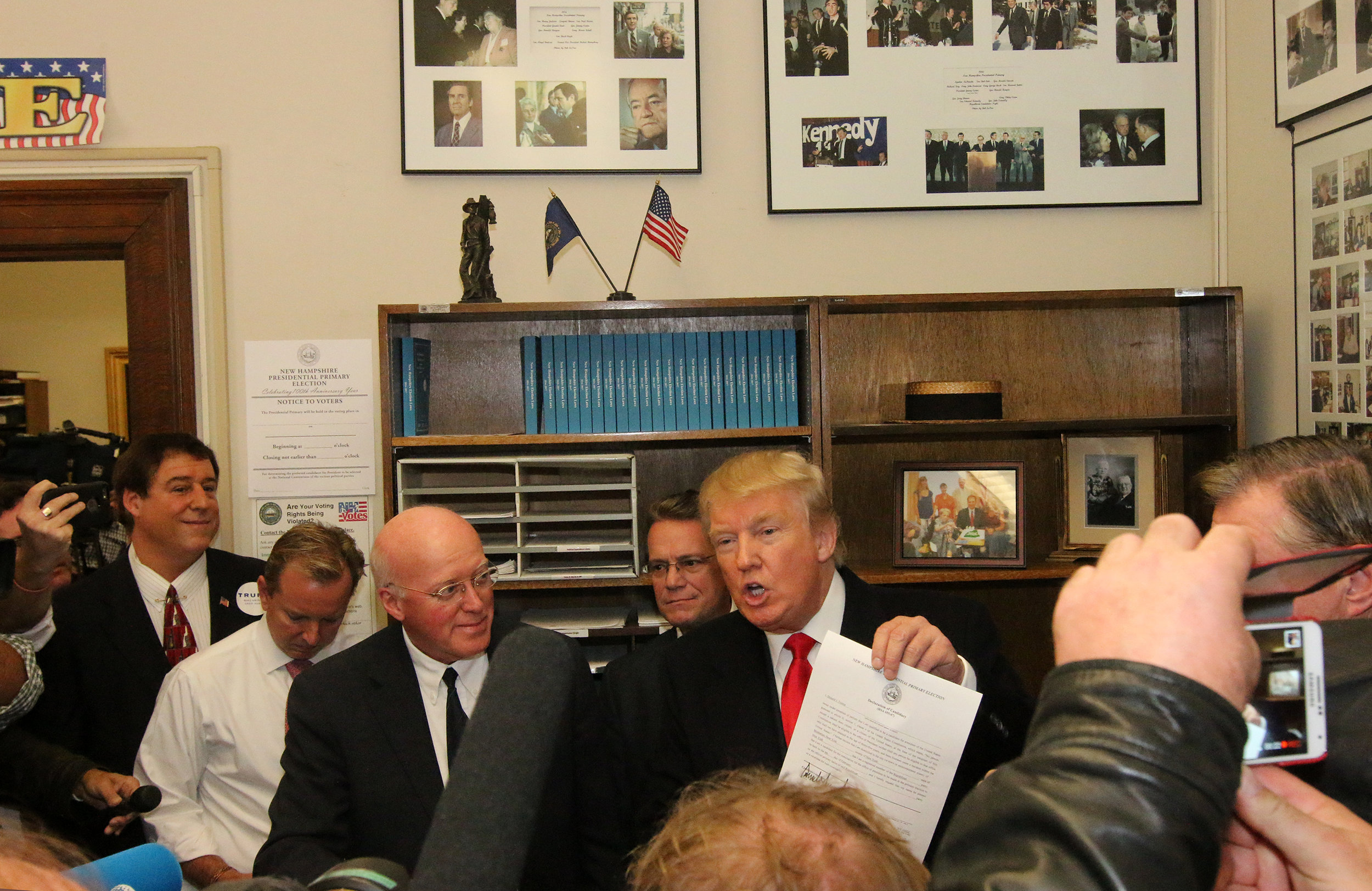 Donald Trump with Gardner on his filing day in 2015. Photo by Allegra Boverman for NHPR.