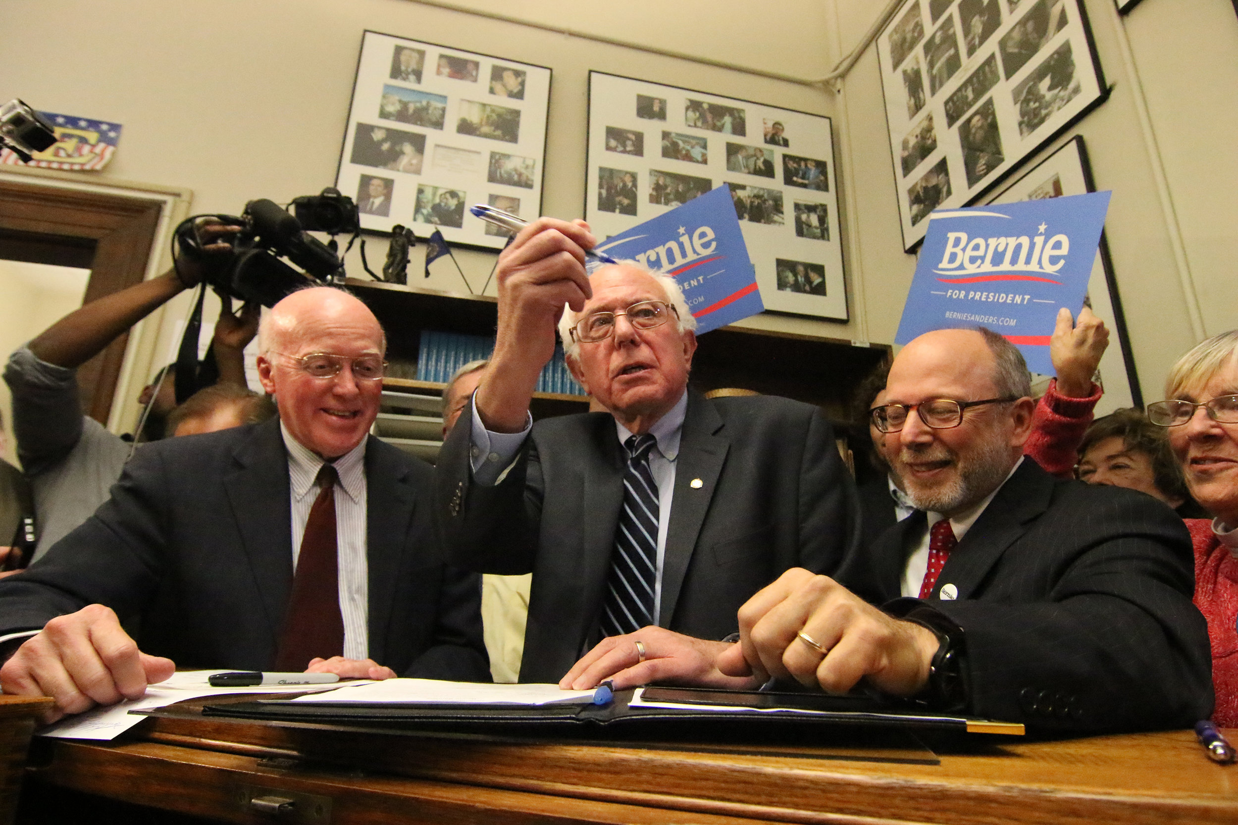 Vermont Sen. Bernie Sanders files for the 2016 New Hampshire Primary. Photo by Allegra Boverman.