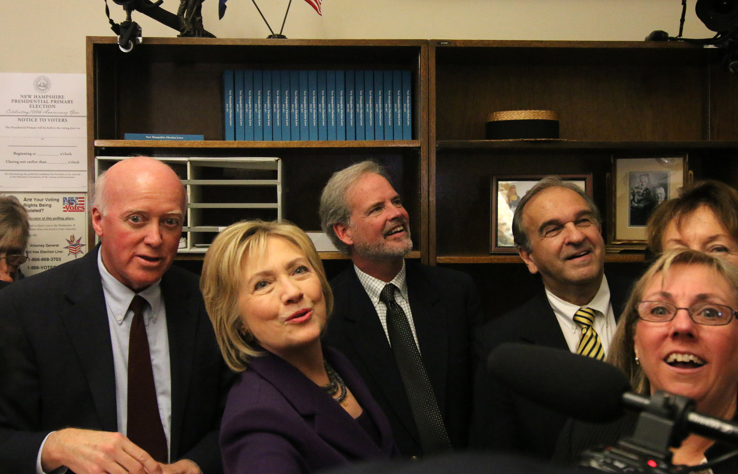 When Hillary Clinton filed for the 2016 New Hampshire primary, Gardner pointed out photos on his wall showing both her and husband filing their candidacy papers for past elections in the very same office. Photo by Allegra Boverman.