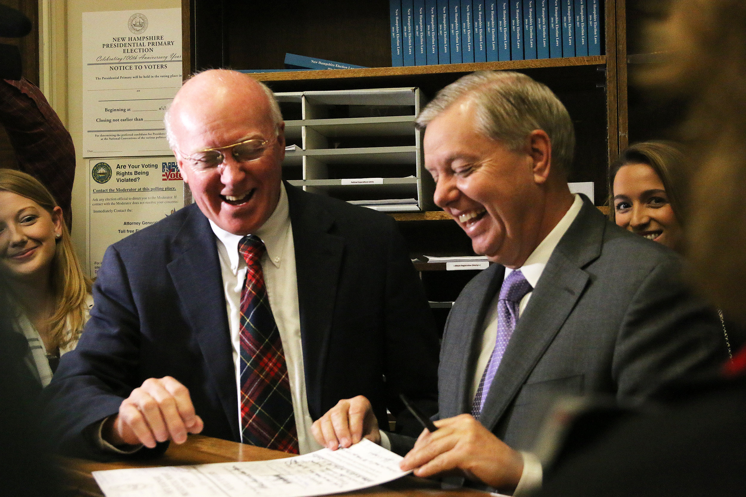 South Carolina Sen. Lindsey Graham files for the 2016 New Hampshire Primary. Photo by Allegra Boverman.