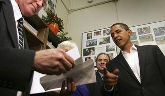 Then-Illinois Sen. Barack Obama files for the New Hampshire primary in 2007. Associated Press.