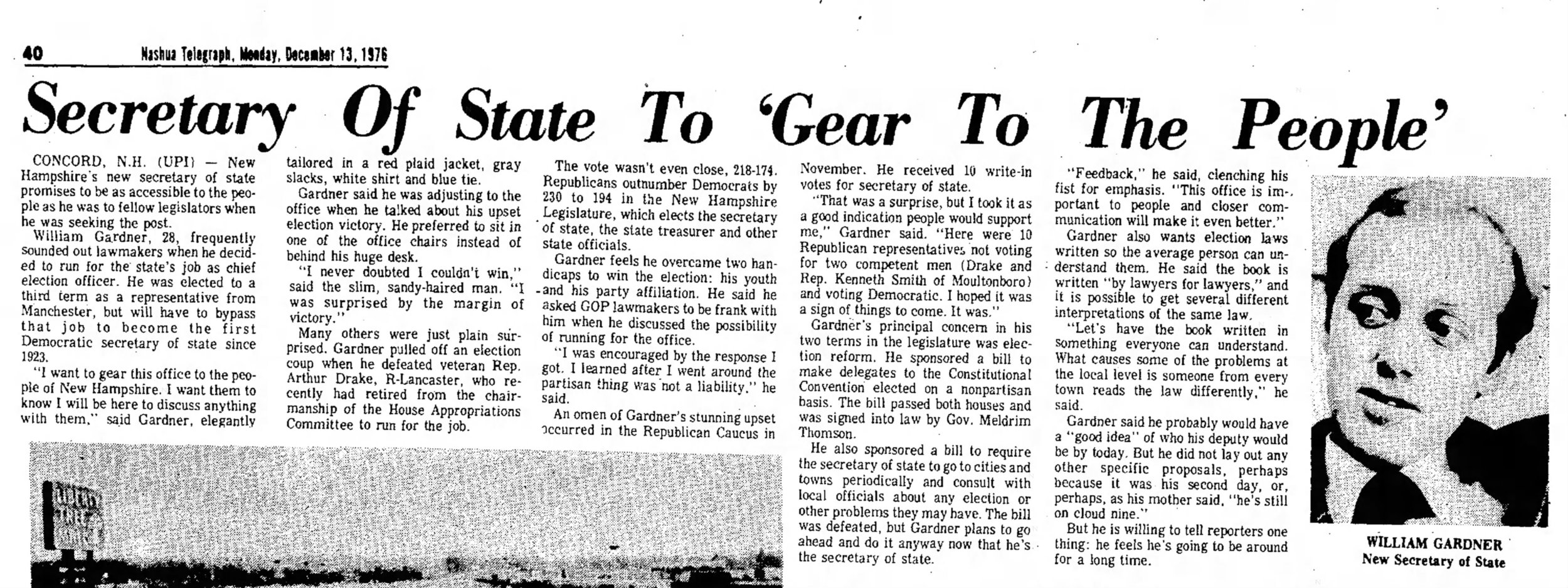 "A prescient line from the Nashua Telegraph's story on Gardner's surprise victory for Secretary of State in 1976: ""He feels he's going to be around for a long time."""