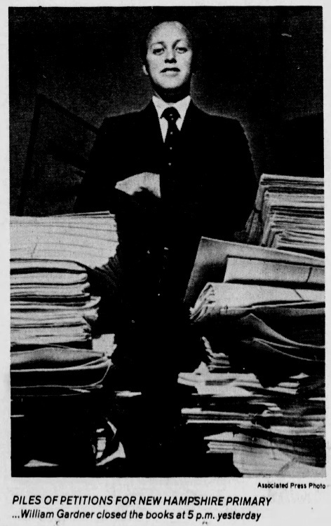 "This AP photo shows Gardner standing before ""piles of petitions"" filed by candidates competing in the 1980 New Hampshire primary — the first presidential election he oversaw as Secretary of State."