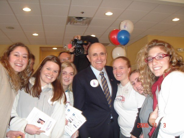 There's Lauren (on the right) with then-mayor and Republican presidential candidate Rudy Giuliani in April 2007.