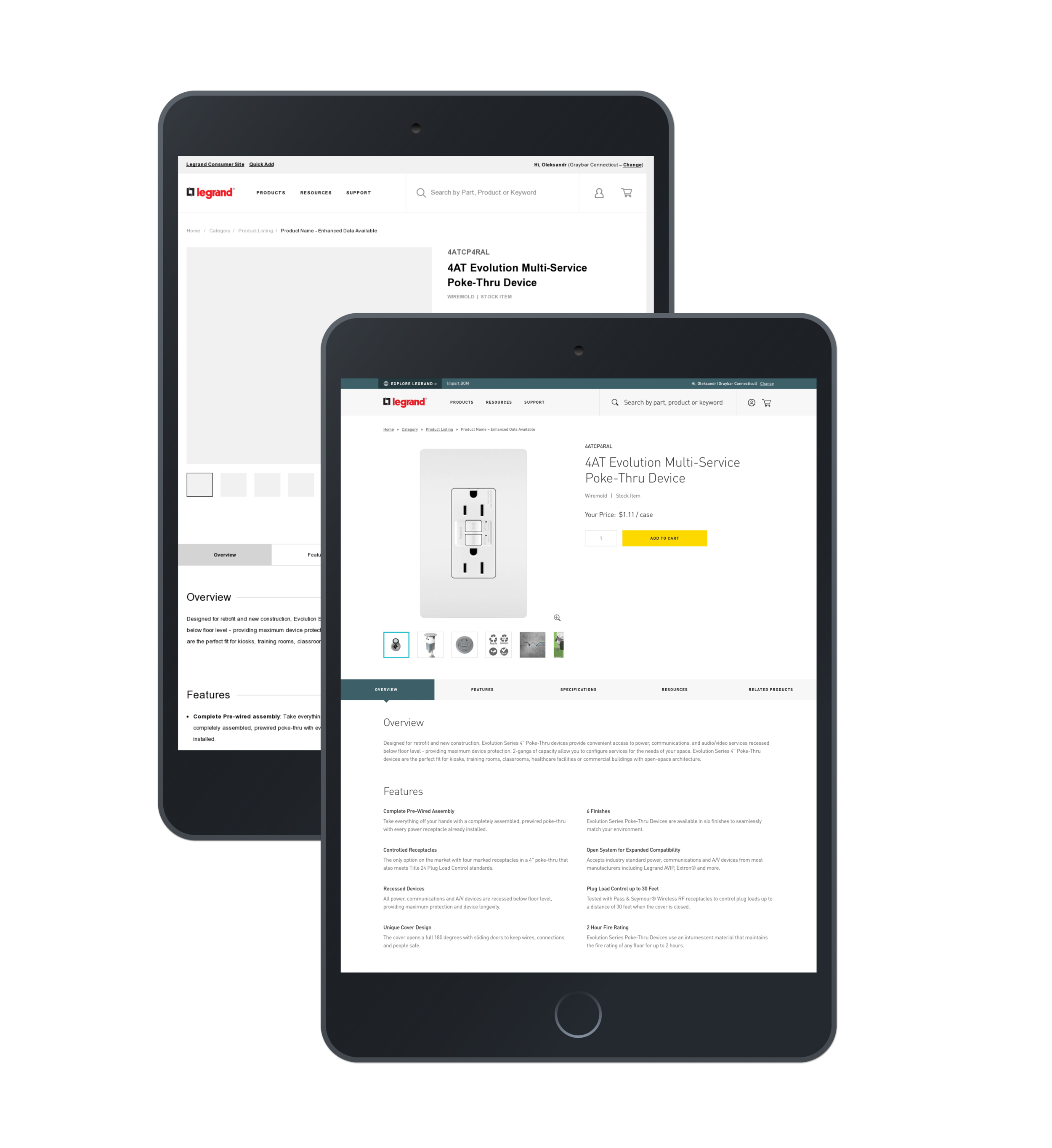 Full Product Detail Page - The PDP created for Legrand contained a lot of variable parts. Shown to the right was an example of a full PDP utilizing all potential options. The simpler option would sections of content based on available data pulled from the product list database.