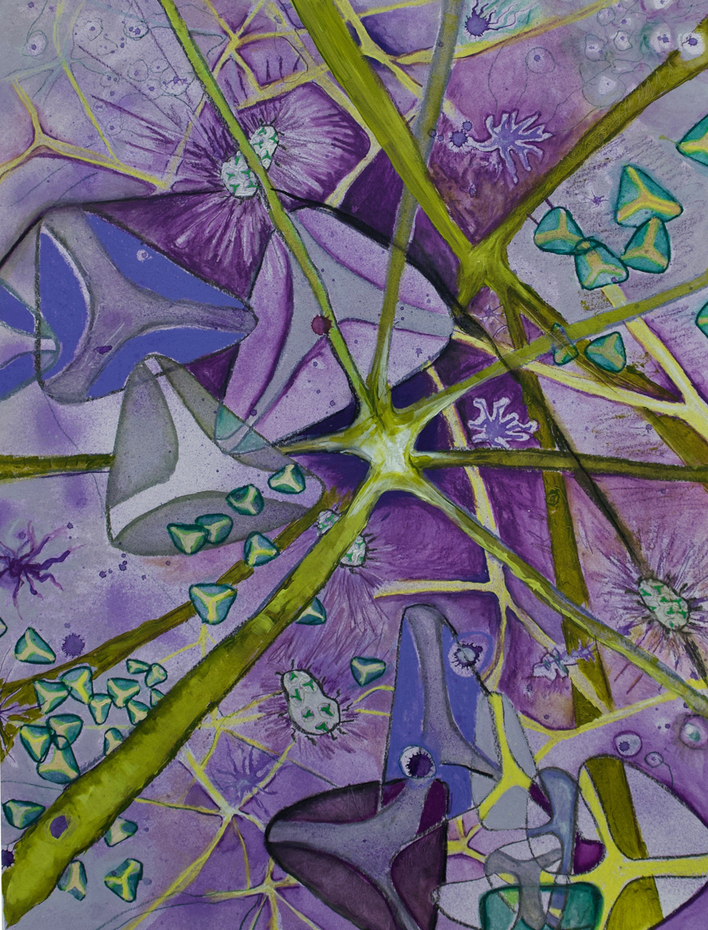 """""""Neurons 2""""  Acrylic, watercolor, 30"""" x 69"""" Arches paper 2017"""