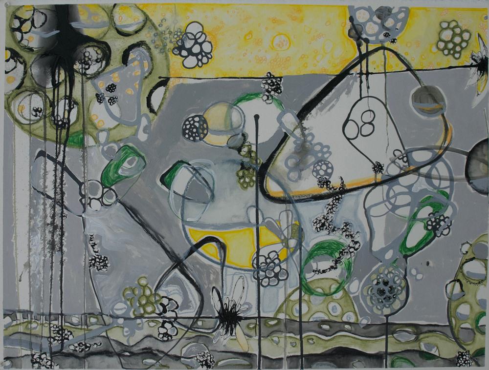 """Blozart""  Acrylic, watercolor, pencils 23"" x 30"" Arches paper 2017"