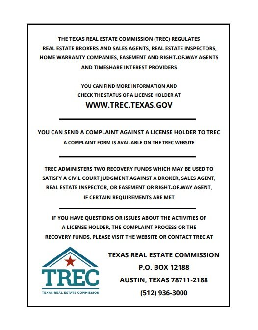 Texas Real Estate Commission Consumer Protection Notice Limelight Real Estate Firm