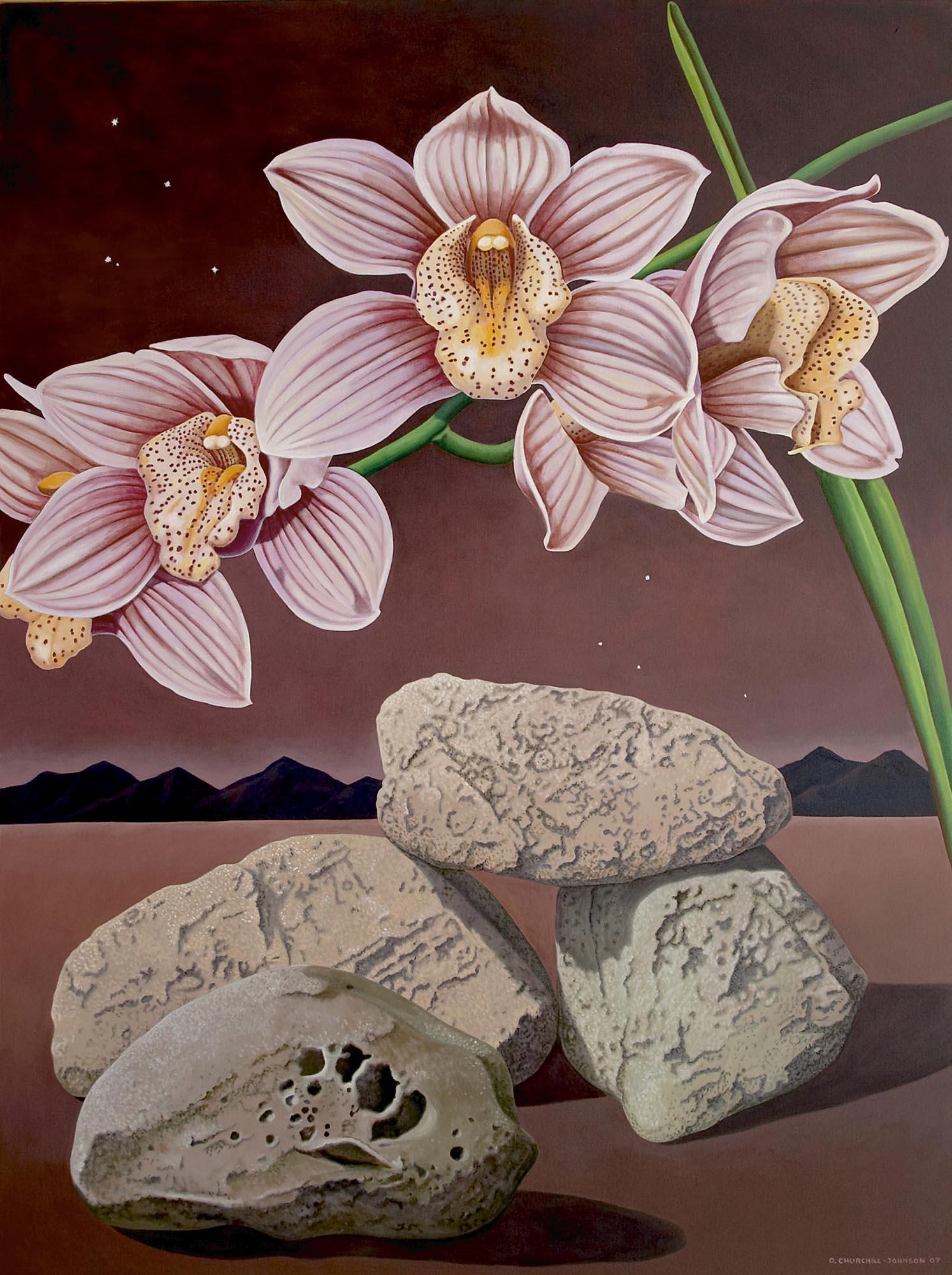 Rocks & Cymbidium, 72 x 54 inches