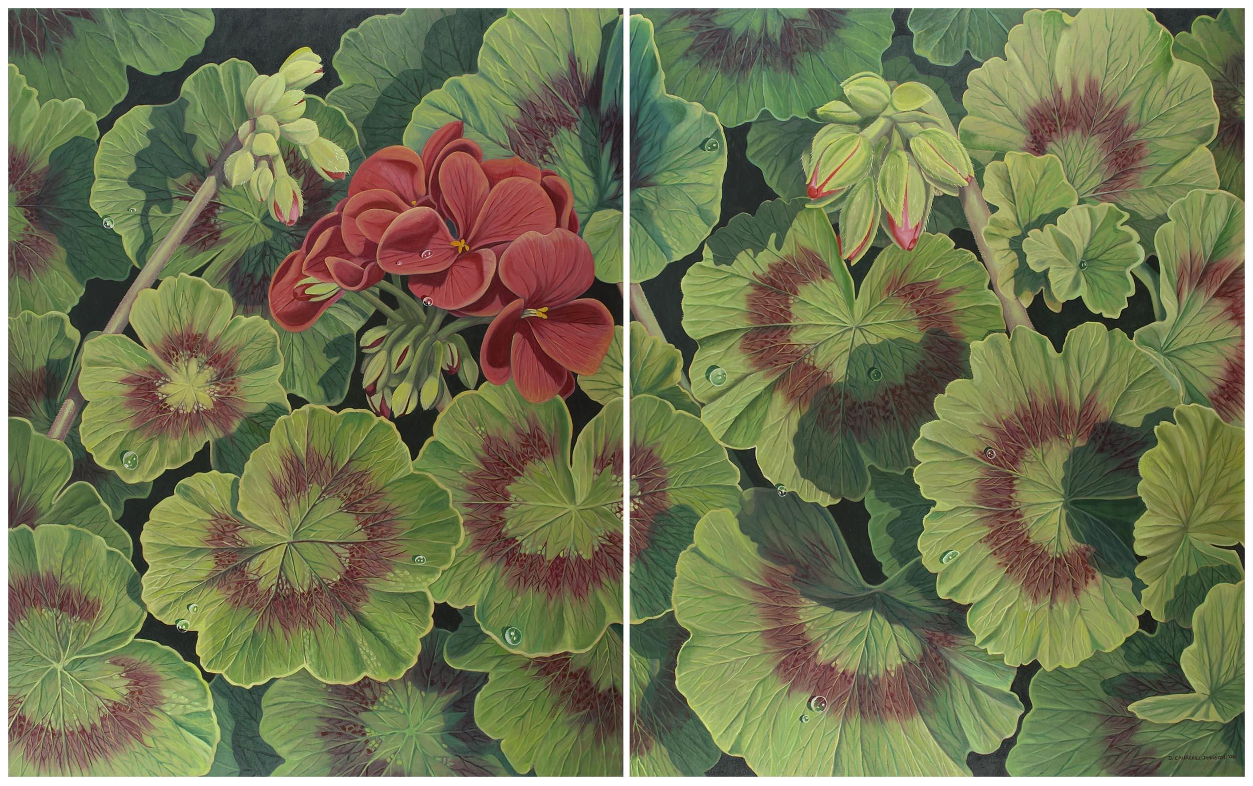Geranium Diptych, 60 x 96 inches