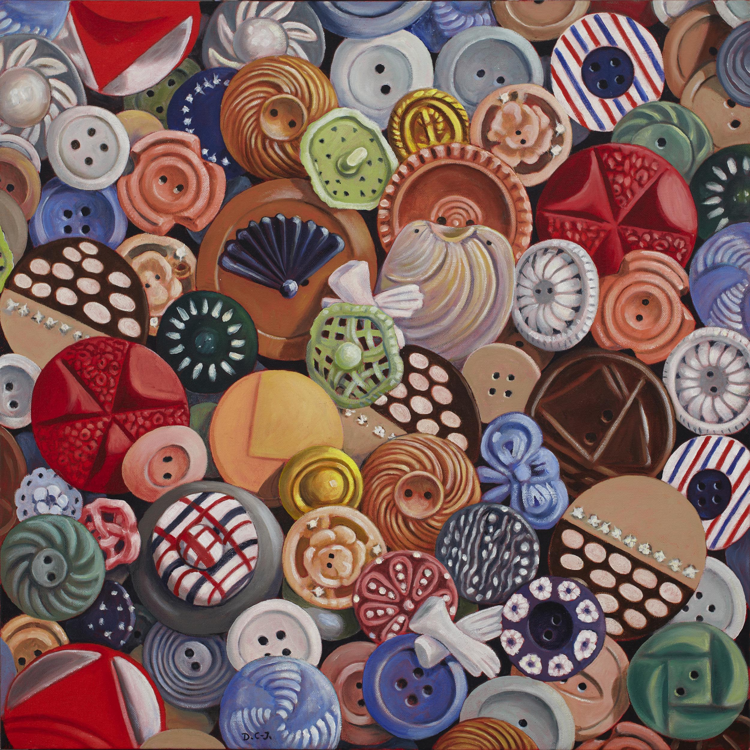 Buttons, 24 x 24 inches