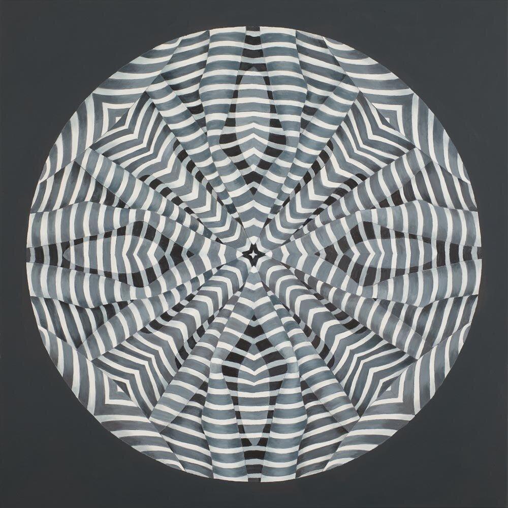 """Centrifugal Stripes"" Oil on Canvas 36 x 36"""