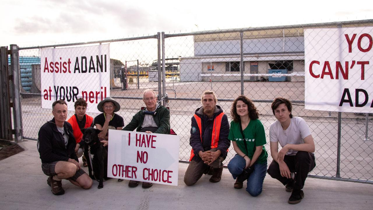 Galilee Blockade, 2019.   John Sheridan from our Brisbane crew, arrested for locking down the Townsville operations of Iplex with some friends. This NZ-owned company want to provide 100km of PE Pipe for Adani's mine.