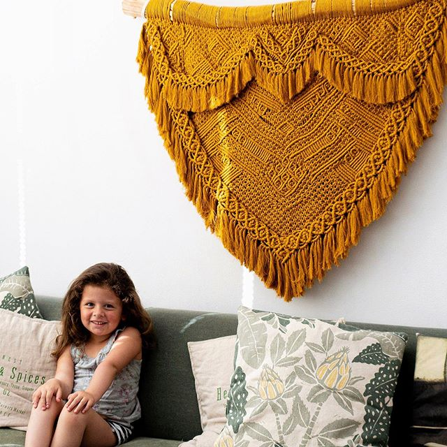To my biggest macramé fan! Which is turning 6 this Friday 😭... No matter what am up to she's always around and loving what ever am making. One important thing I wish to pass on is the love for art which can bring so many amazing people together.  So here's to the next generation of art lovers and makers. 🧡🧡🧡. . . . . . . . . . . . . . #macramevideo #macrameartist #macramewallart #creativeliving #familylife #fiberartistsofinstagram #macrametapestry #tapestry #wallart #macrameart #macramebackdrop #fiberartinstallation #artinstallation #artistsoninstagram #macramewallhanging #macramerope #bohointerior #myhometoinspire #macrameknots #macramemaker #handmade #etsy #creativehappylife #wovenwallart #woventapestry #wovenwallhanging