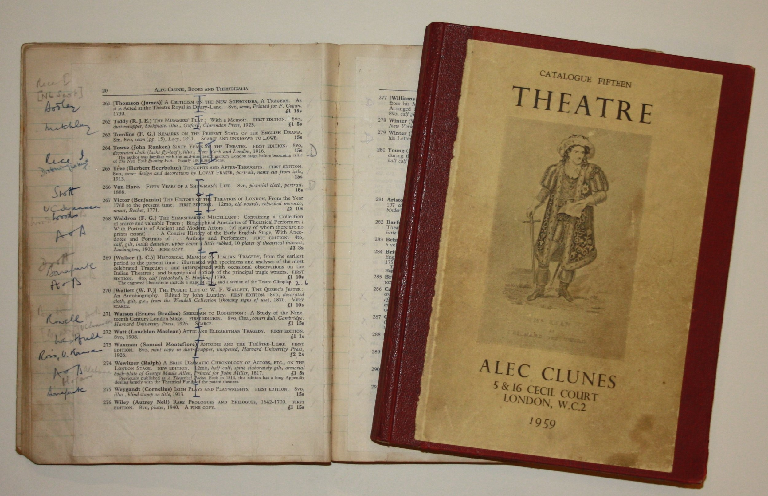 Master copies of catalogues issued by actor and bookseller Alec Clunes (father of Martin), annotated to show sales