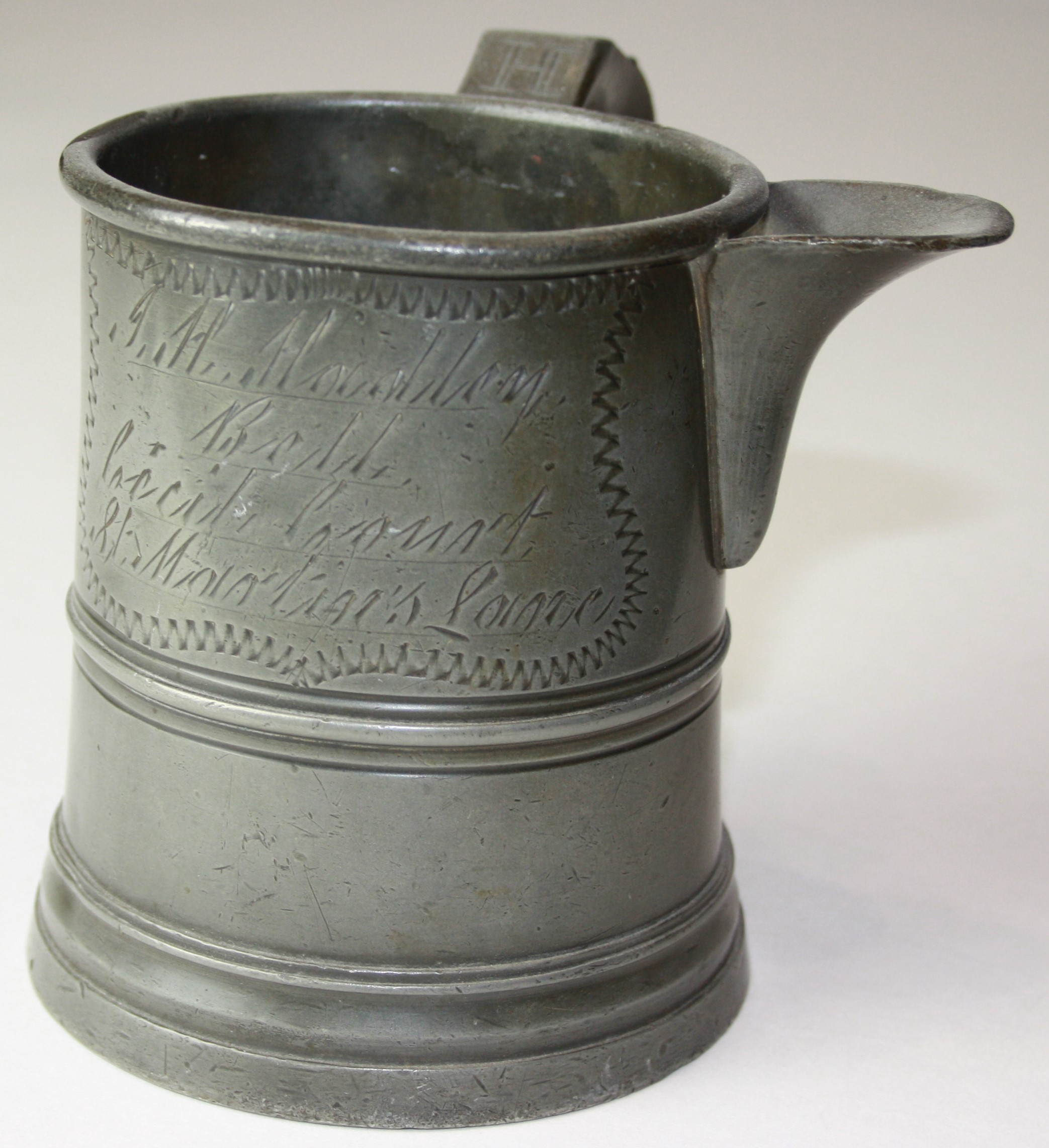 Mid 19th century pewter jug, engraved 'J H Hadley, Bell, Cecil Court, St Martin's Lane'. Joe Hadley seems to have been the landlord in the 1870s (from a passing refence to a bulldog club show in November 1878 held at the pub, in Hanes,  The New Complete Bulldog , 1966; p. 121)