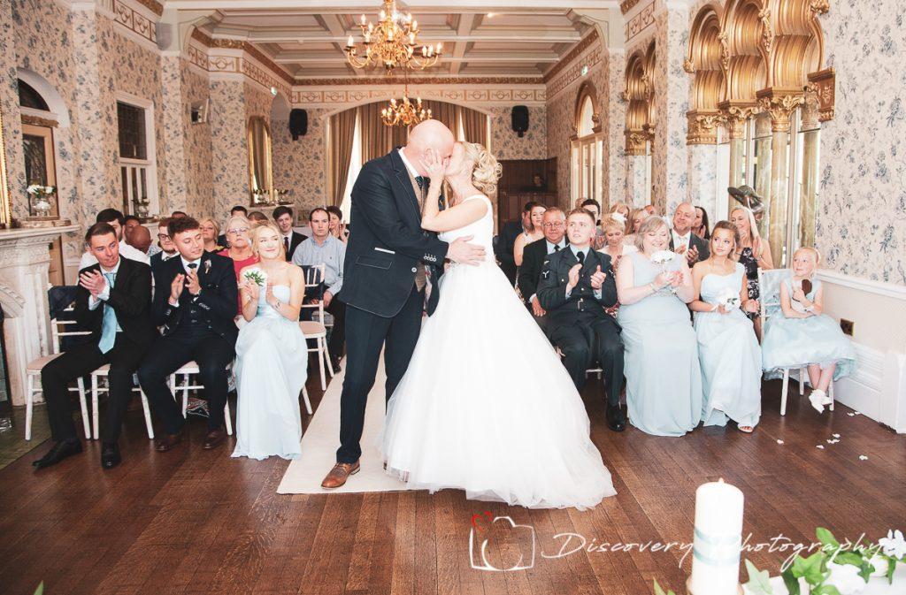 Rushpool Hall wedding photography first kiss