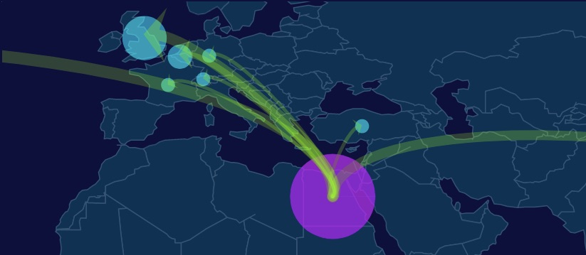 Example: Quickly identify all past transfers greater than EUR 1M that included Egypt.  ©EyesClear.