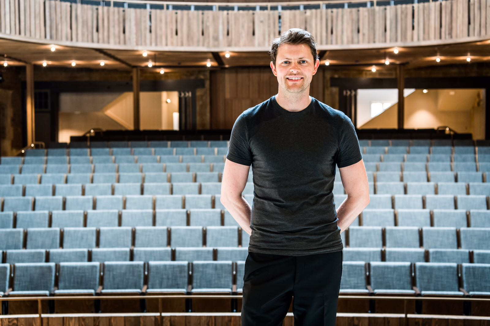 Nicholas pictured on stage at the Stirling Prize nominated theatre at Nevill Holt
