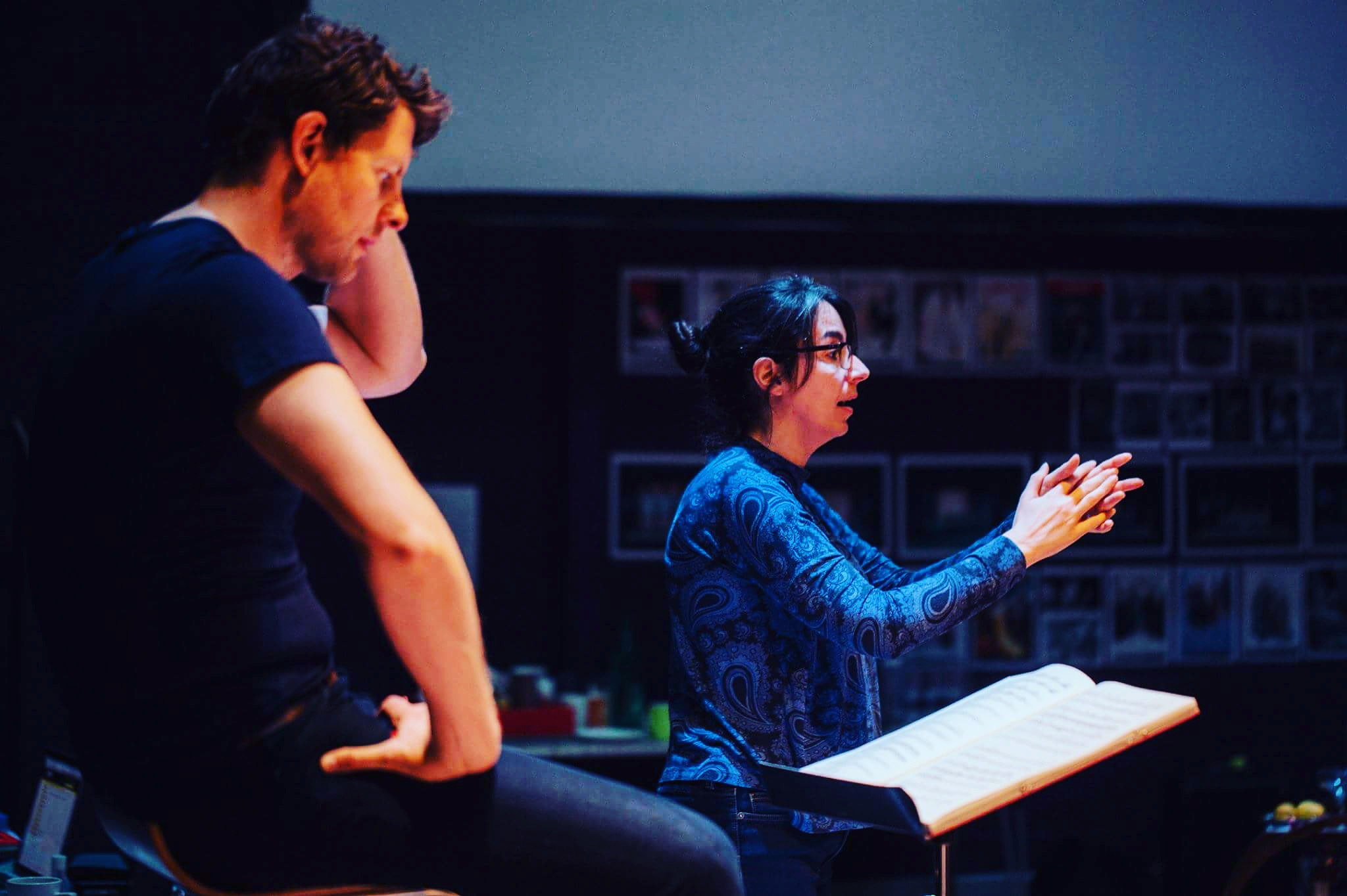 With director, Adele Thomas working on Così fan tutte at Northern Ireland Opera