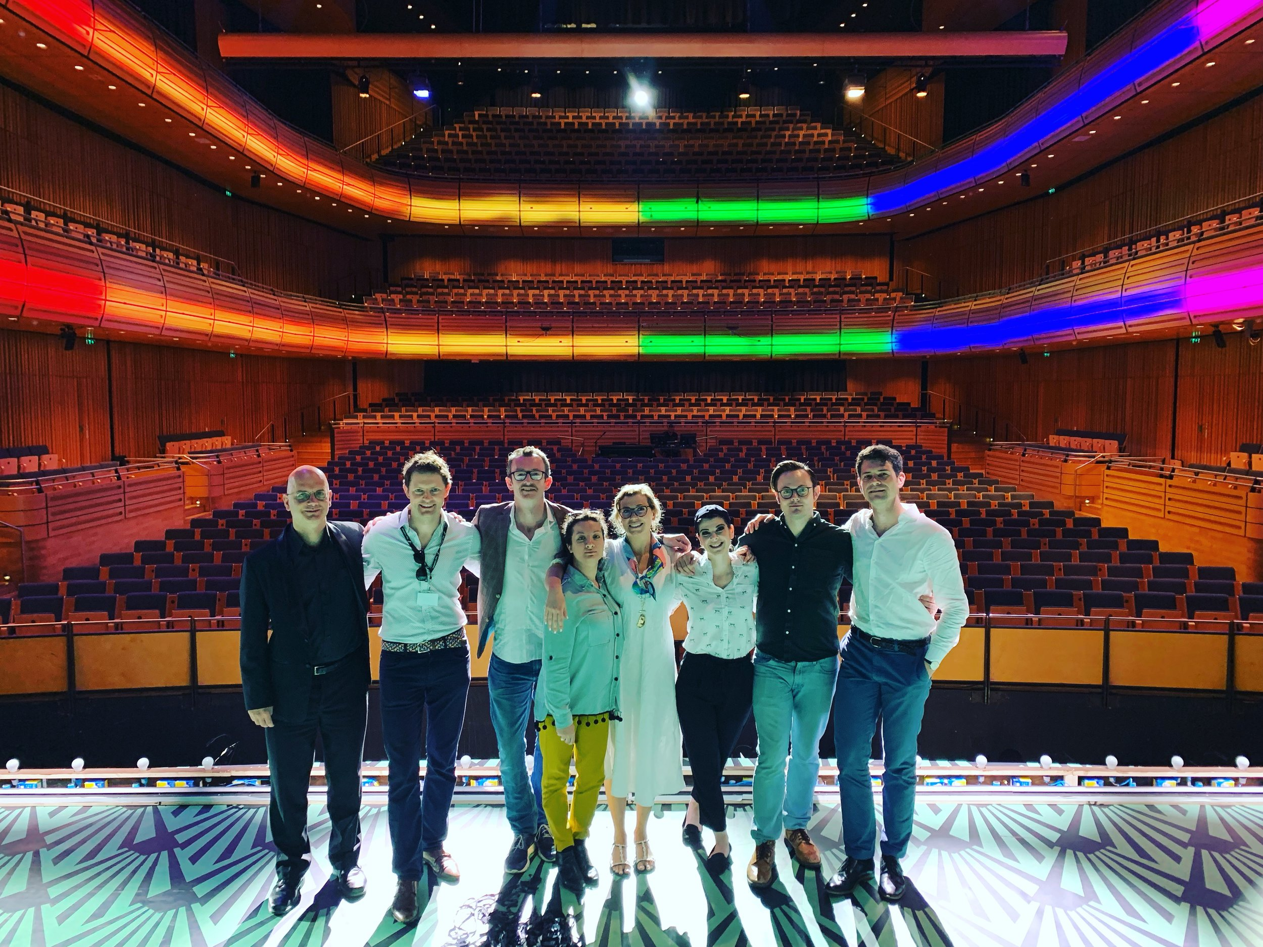 Nicholas with the cast of Così fan tutte on Stage at Sage Gateshead