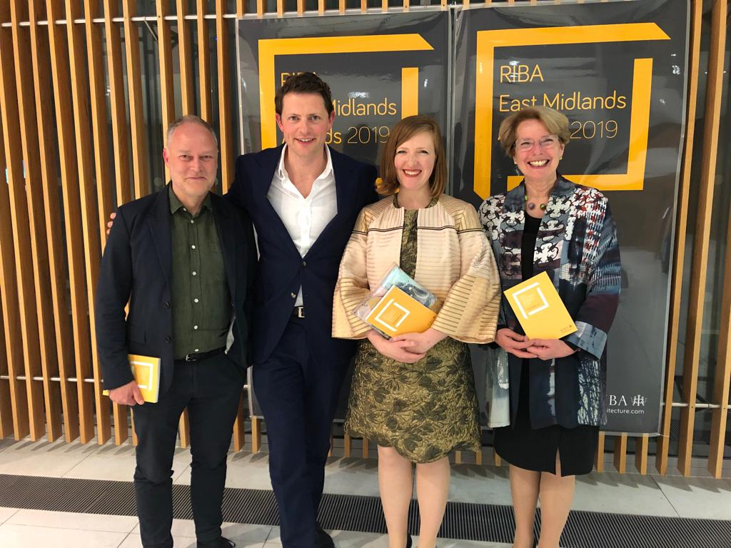 Nicholas with Chris Watson (architect), Rosenna East (general manager, Nevill Holt Opera) and Anne Minors (Sound Space Vision) at the RIBA regional awards ceremony