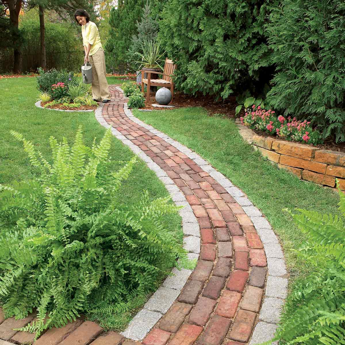 Brick walkway with sand base