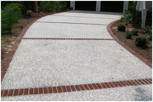 Concrete - Tabby finish with brick border