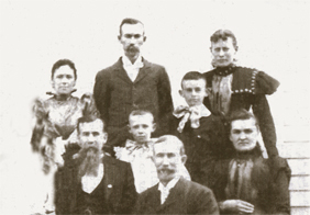 Some members of the Loar family in 1897. Back row (L to R): Clara Loar, George Loar, Emma Loar Gaddis. Center row (L to R): Raymond Loar, Lloyd Loar. Front row (L to R): David Loar, Thomas Loar, Laura Loar. Lloyd was 11 when this photo was taken. Sister Madelon was born three years later.