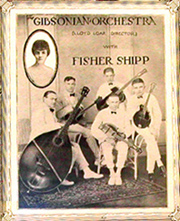 """Loar's personal and professional relationship with Fisher Shipp was blossoming, leading to their marriage in 1916. Even when Loar was promoting the """"Gibson Orchestra,"""" Shipp was included as the vocalist. Here Loar (second from right, front) is performing on an F4."""