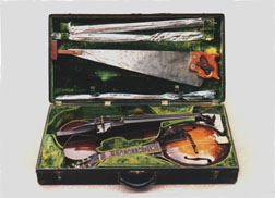 Loar's 10-string mando-viola, electric viola, and musical saw were kept in one carrying case.