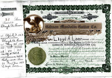 On April 3, 1923, Lloyd was given Gibson stock certificate No. 269-A for 31 shares of stock. The certificate was signed by Lewis Williams, secretary, and John Adams, president.