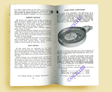 """Gibson's 1925 accessory catalog was well into print production when Gibson decided to discontinue the Virzi Tone Producer at the end of 1924. Rather than reprinting the catalog, the pages for the """"Tone Amplifier"""" were stamped """"CANCELLED""""."""