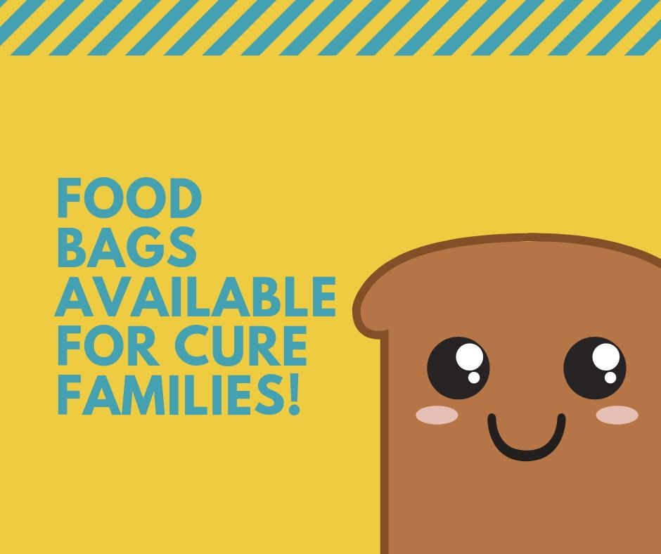 Food Bags for C.U.R.E. Families:  We know it can hard to make ends meet when the kids go back to school. We at C.U.R.E. want to help! Please contact the office if you would like to stop by and pick up a food bag. We have staples like peanut butter and jelly and mac and cheese that we hope you'll find helpful! Please call the office (585-473-0180) or e-mail  staff@curekidscancer.com  to set up a pick up time!