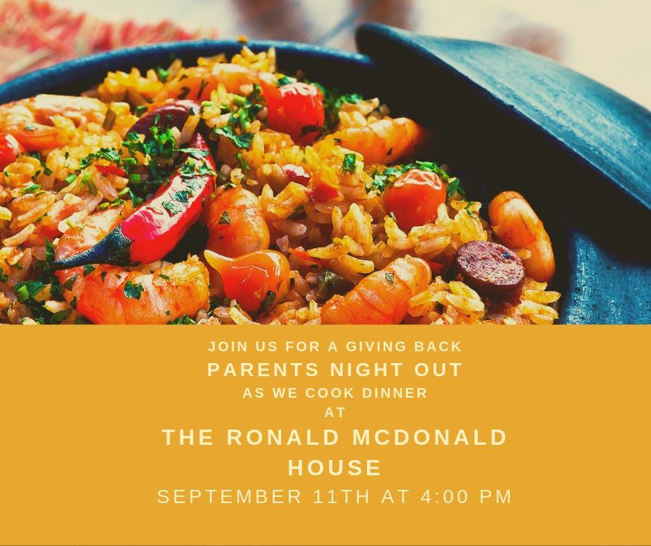 """If you remember ever saying, """"I'd like to give back."""" and wasn't exactly sure how, we have your perfect opportunity:  On Wednesday, September 11th starting at 4:00 p.m.  We will have a Parents' Night Out cooking for some families that could use some home-cooked goodness!.  If you are interested, please RSVP with Adella at  Adella.ivison@curekidscancer.com  or call 585-473-0180."""