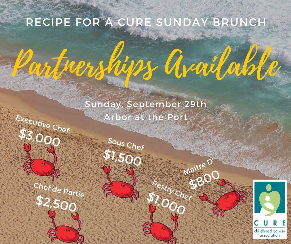 Want to make a difference for our families? We have some great partnership opportunities available for our 11th Annual Recipe for a CURE Sunday Brunch on Sunday, September 29th at Arbor at the Port.  Find out more by clicking  here  or by emailing our Community Coordinator bridget.sadler@curekidscancer.com.