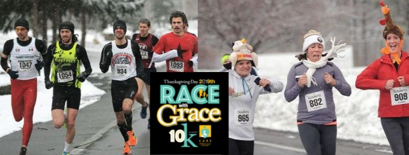 November 28, 2019Thursday 9:00 AM – 12:00 PM    First Bible Baptist Church    990 Manitou Road Hilton, New York 14468  Join us Thanksgiving morning for a fun filled road race! The race is held on Thanksgiving morning at 9:00 AM. Proceeds from the race are generously donated to CURE Childhood Cancer Association. You can register at  www.rwg10k.com   Not a runner? That's ok! We need volunteers, too! Check out the website above for volunteer opportunities!