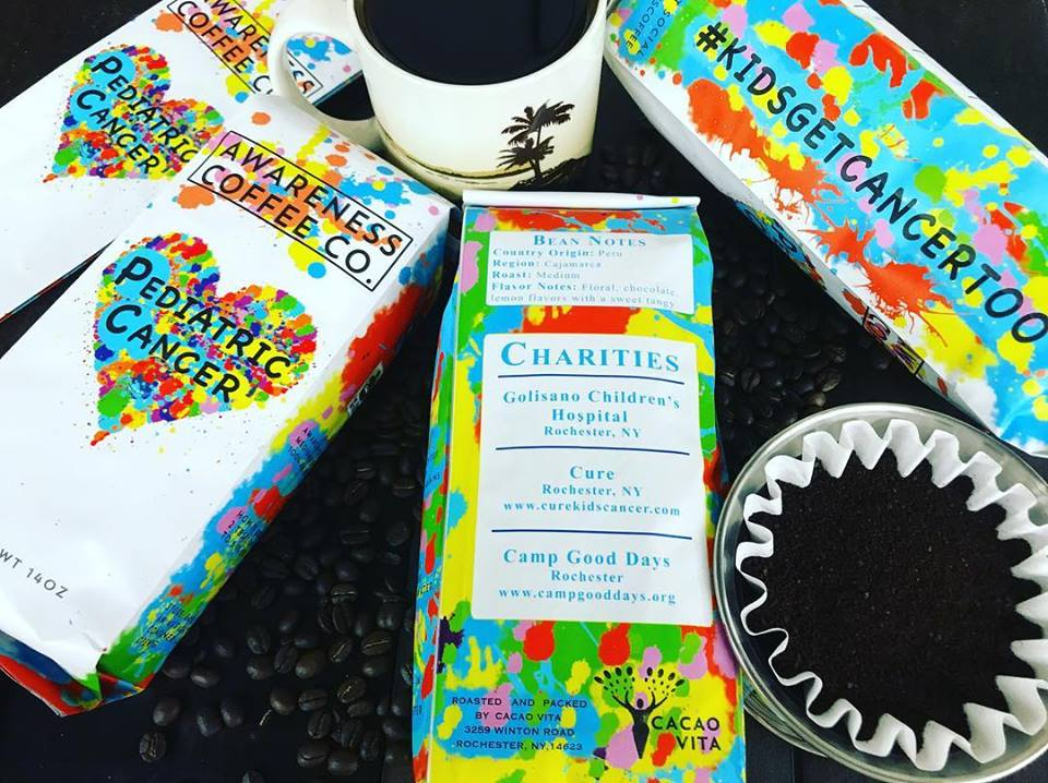 Our friends at Awareness Coffee are helping to spread awareness about Pediatric Cancer with their coffee made from a specialty bean out of Peru, and roasted to perfection with subtle floral and chocolate notes.  A portion of proceeds will be donated to CURE, Golisano Children's Hospital and Camp Good Days – your choice at checkout!  Buy the coffee  here !
