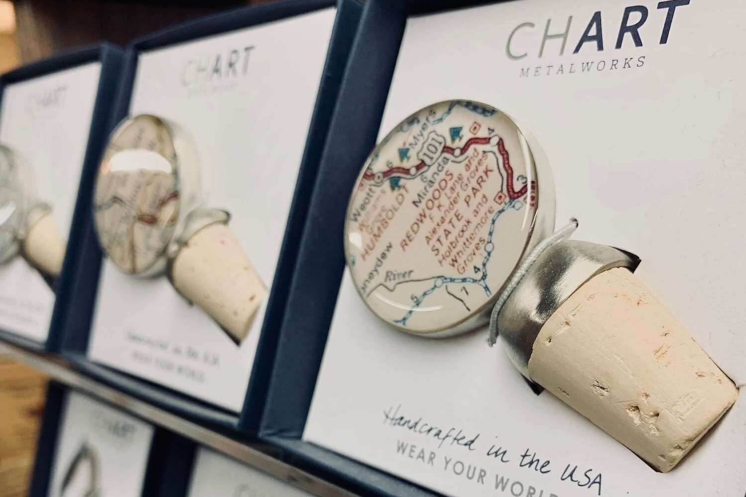 Local Gifts - We offer a variety of locally made items that make the perfect gift for that special occasion! Chart Metalworks creates vessels for you to tell your own custom story – where you grew up, site of your engagement or marriage, favorite vacation spot or current residence.