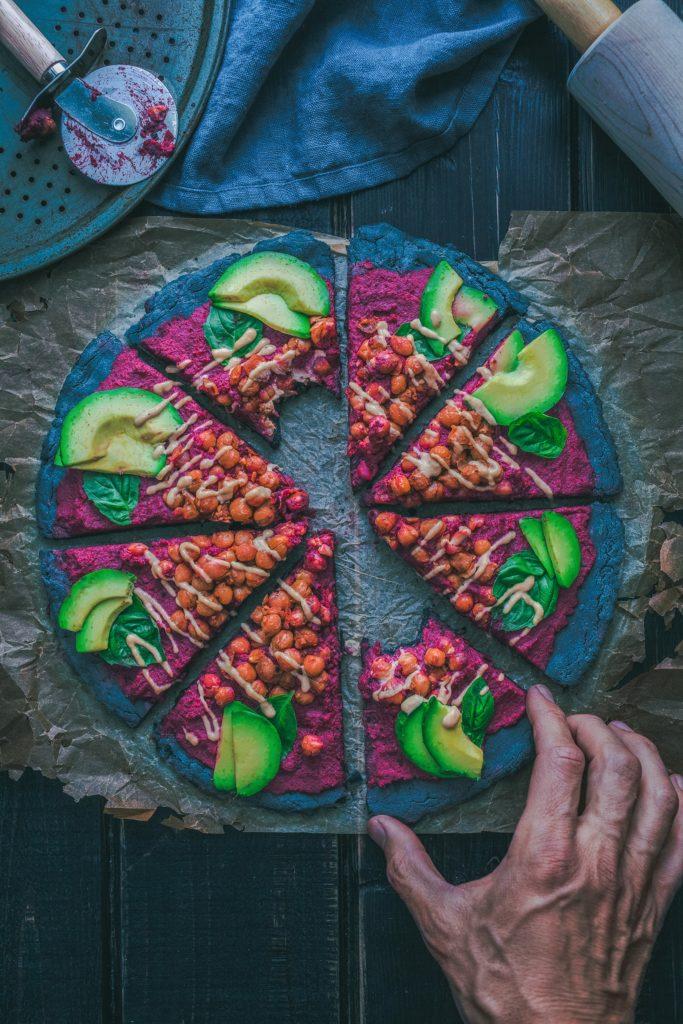 vegan pizza hand purpose chickpeas cutting plan