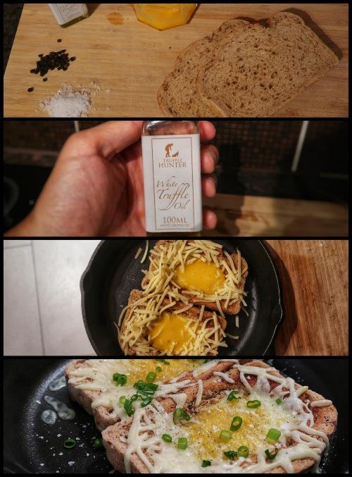 Truffled egg toast collage
