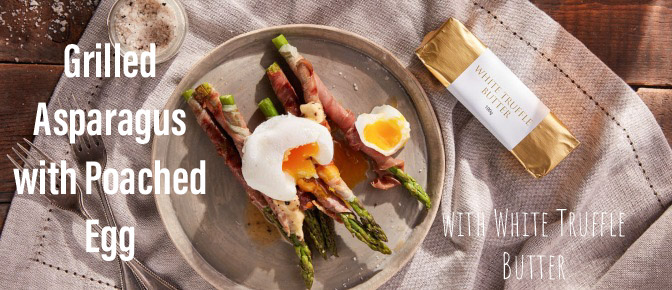 Grilled Asparagus with poached Egg and White truffle butter