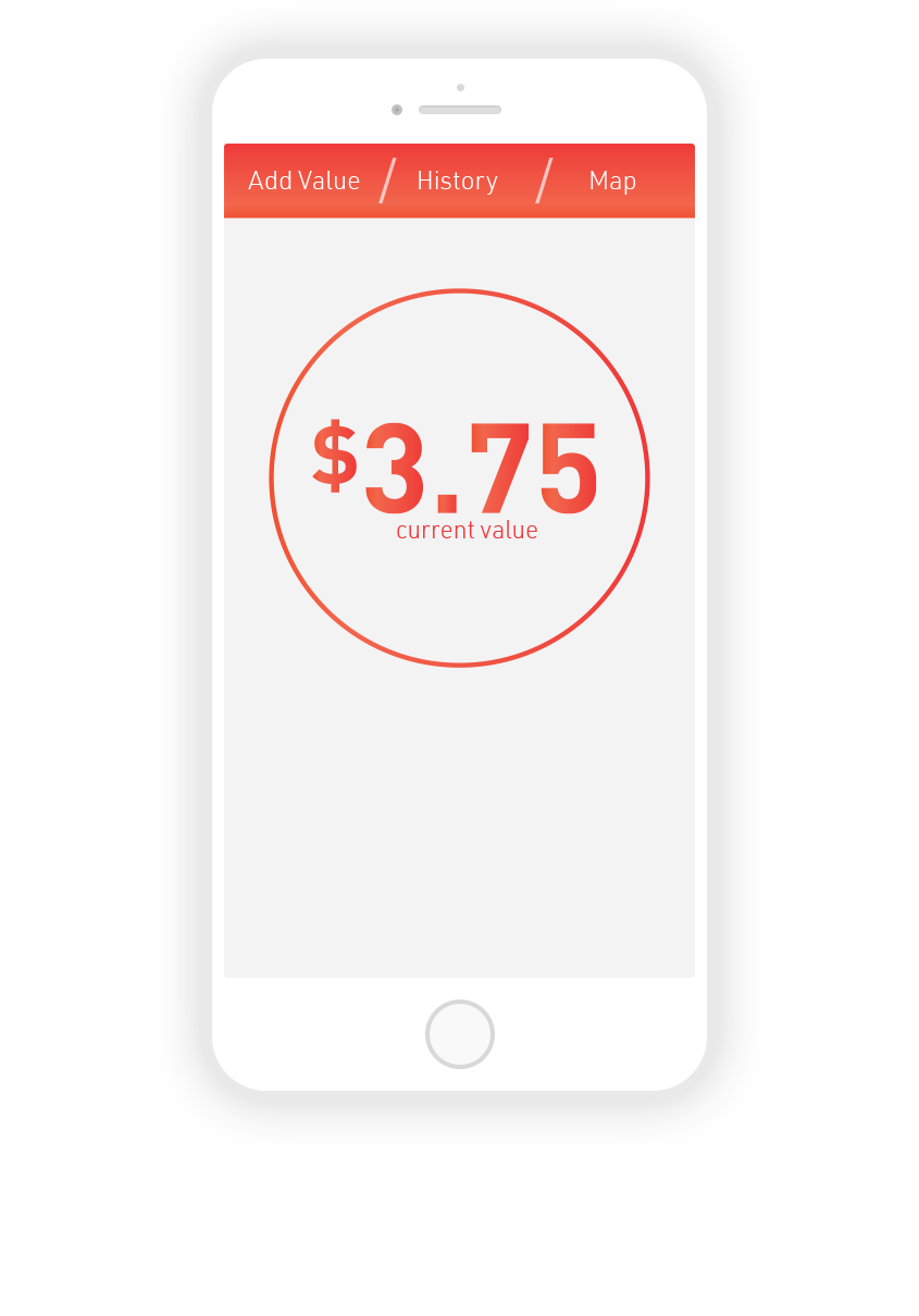2.  Homescreen; displays current card value, and has the open to navigate to top three sections.