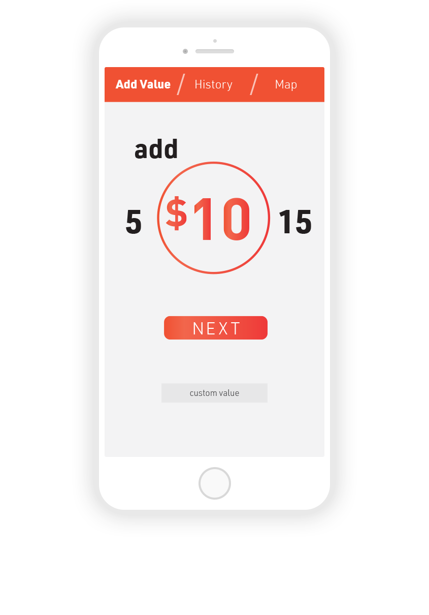 3.  Add Value tab: Swipe from left to right to adjust value by increments of $10, or enter custom value.