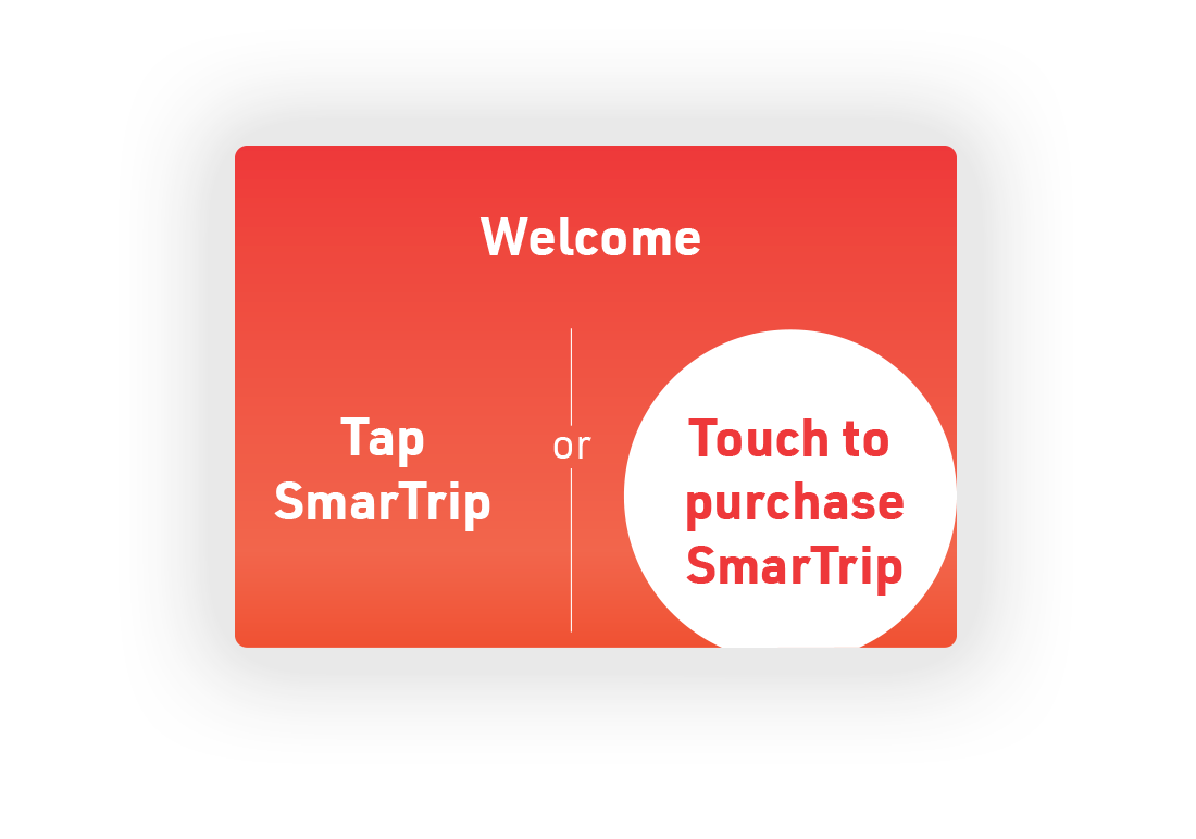 1.  Start screen when you approach the kiosk; either tap SmarTrip card, or touch the icon on the screen to purchase one.