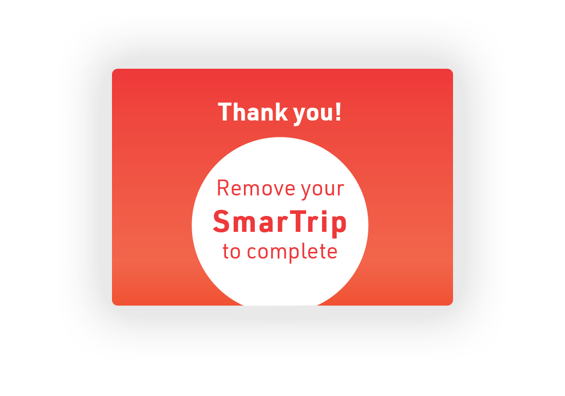 3.  Completion screen after purchasing SmarTrip.