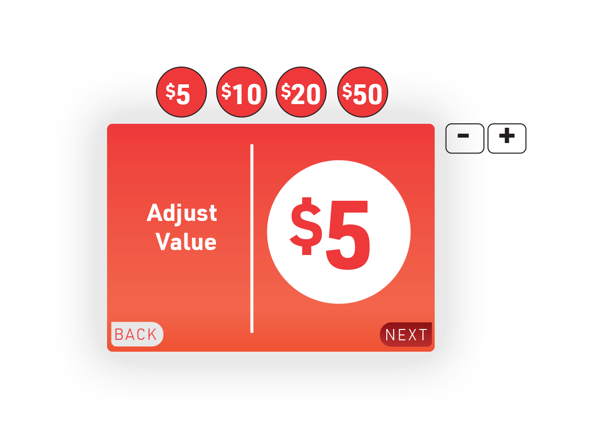 """5.  Add value screen: Tap physical buttons above screen to increase value, and use """"- +"""" buttons to adjust but $1."""