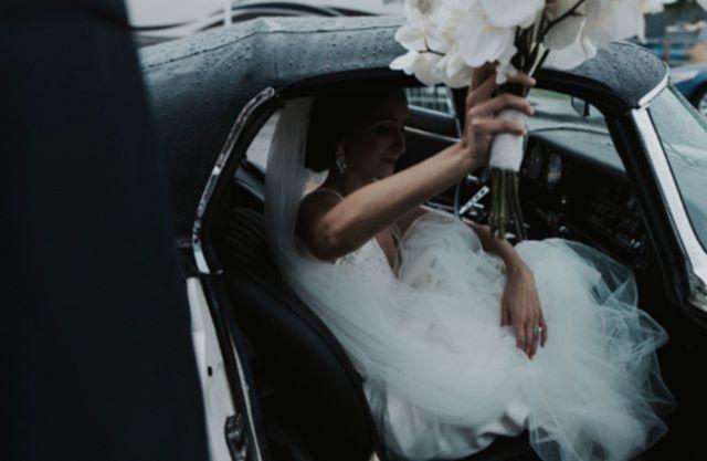 "When he says ""honey, get in we are going shopping"" • • • • #byinvitationonlyblog #annajoneswedding #annajonesphotography  #sayido #weddingbloggers #iowawedding #getawaycar #vintagejag #midwestblogger #midwestwedding #herecomesthebride"